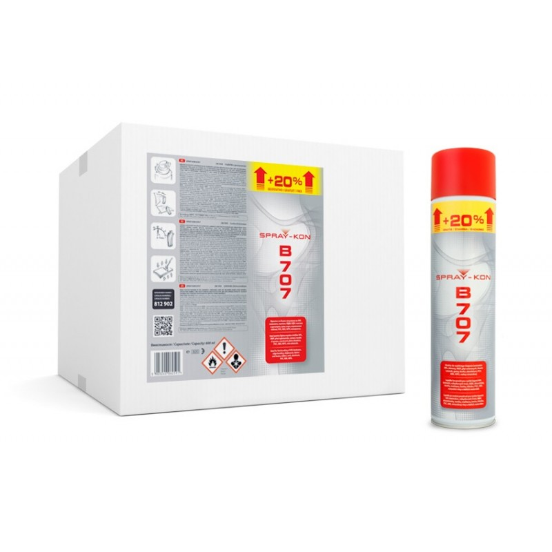 SPRAY-KON B707 600ML - ADEZIV CONTACT ÎN TUB SPRAY - 1 BAX - 12 BUCĂȚI